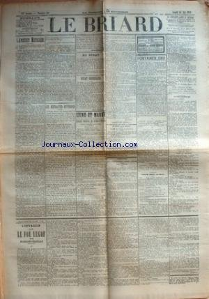 BRIARD (LE) [No 39] du 20/05/1911 - L'AVENTURE MAROCAINE - LES RETRAITES OUVRIERES PAR JEAN-JACQUES - AU SENAT - DEBAT NECESSAIRE PAR JEAN JAURES - SEINE-ET-MARNE - CONSEIL GENERAL DE SEINE-ET-MARNE - SESSION ORDINAIRE D'AVRIL 1911 - SEANCE DU 27 AVRIL - ASSOCIATION GENERAL DES SOUS-AGENTS DES POSTES ET TELEGRAPHES DE FRANCE ET DES COLONIES - ASSOCIATION DES INSTITUTRICES LIBRES LAIQUES - AUX PARENTS - FONTAINEBLEAU - SOCIETE DE TIR - CONCERT - THEATRE OMNIA, RUE MASSIER - LE THEATRE
