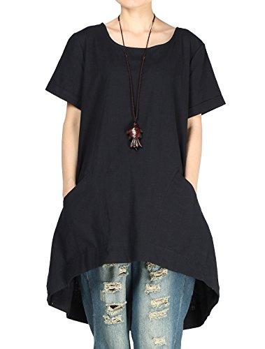 Vogstyle Damen T-Shirt Rundhals Kurzarm Irregulär Kleid Schwarz XX-Large(fit EU44-48) (Kleid T-shirt Leinen)