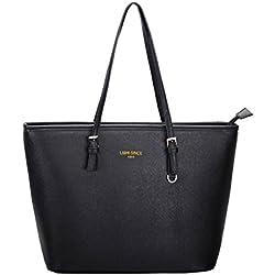 LI&HI Damen Handtasche Schwarz Marken Handtaschen Elegant Taschen Shopper Reissverschluss Frauen Handtaschen Schwarz Groß - 33/28/15 cm (B*H*T)