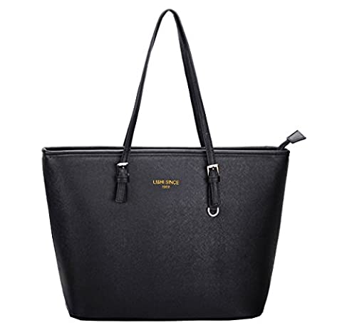 LI&HI Ladies Handbags Black Elegant Shoulder Bag Large Shopper Zippered Tote Bag for Women