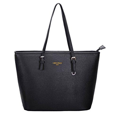 LI&HI Damen Handtasche Schwarz Marken Handtaschen Elegant Taschen Shopper Reissverschluss Frauen Handtaschen Schwarz Groß - 33/28/15 cm (B*H*T) (Ipad-tasche Für Frauen)