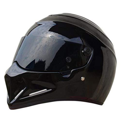 LEAGUE&CO Casco moto Casco Casco moto Caschi Casco integrale Alien Visor Offroad Racing Motocross per Honda Casco Yamaha Suzuki Kawasaki Bandit (M, nero lucido (marrone scuro))