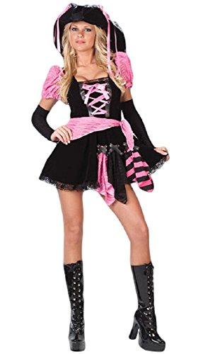 Rosa Piraten Kostüm Sexy - Fancy Me Damen Sexy Schwarz Rosa Punky Piraten Henne Do Halloween Party Kostüm Kleid Outfit - Rosa/Schwarz, 12-14