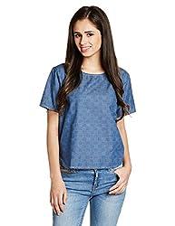 Wrangler Womens Button Down Shirt (W19968A6757A_Blue_00M)
