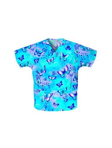 Cherokee Medizinische Unisex Bluse, FLNT (Schmetterlinge), Gr. XL - Cherokee Uniformen Medizinische