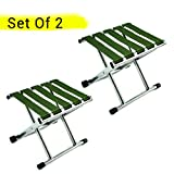 #3: TIED RIBBONS Set of 2 Portable Folding Stool for Camping Garden, Balcony, Terrace, Lawn(30 cm X 30 cm X 24 cm)