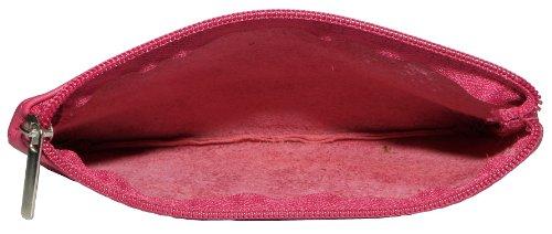 Italiano in morbida pelle con zip portamonete, portamonete o titolare di carta di credito del debito. Grande fucsia rosa