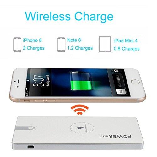 Preisvergleich Produktbild 12shage Tragbare externe USB Power Bank 8000mAh und Wireless Charger für Samsung Galaxy Note 8 (Weiß)