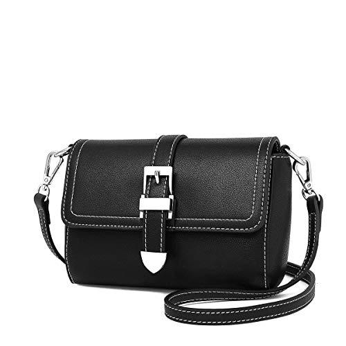 Damen Leder Schultertasche, Schlanke Minimalistische Diagonale Kleine Quadratische Tasche (Farbe : SCHWARZ)