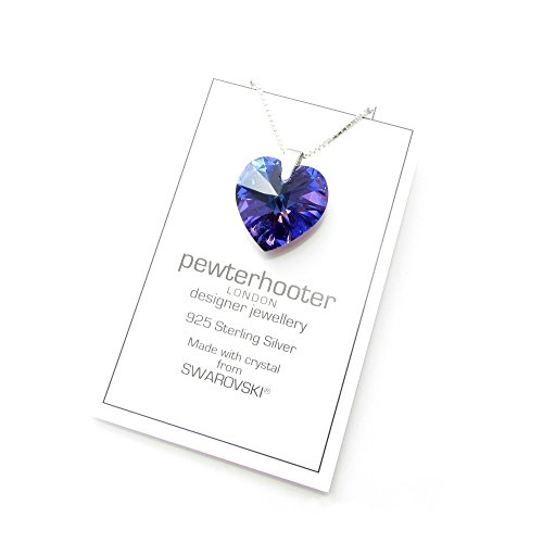 A sparkling Heliotrope Blue heart crystal from SWAROVSKI set on a Sterling Silver chain.
