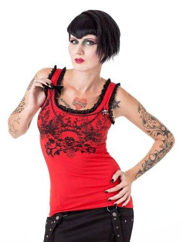 Queen of Darkness, Rotes Top mit Spitze und Totenkopfdruck Schwarz