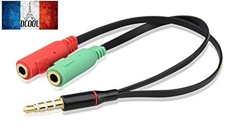 Dcool Câble Jack 3.5mm Audio Adaptateur Mâle vers Double Sorties Femelle pour Écouteur Casque PC Tablette Téléphone Lecteur MP3 Smartphone Couleur Noir