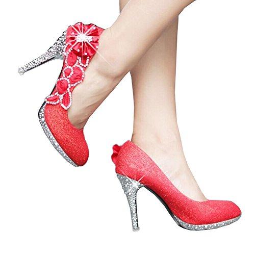Damenschuhe High Heels 2014 Fashion Pumps für Frauen Strass Blume Schuhe Sexy Schuhe für Hochzeit Rot