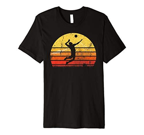 Vintages Retro Volleyball Spieler Schattenbild Sun T-Shirt -