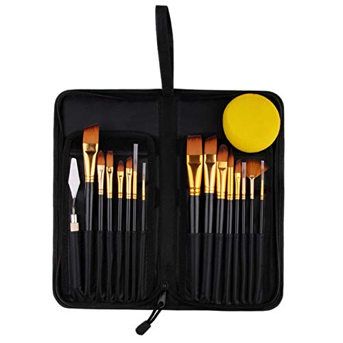 17 Pcs Artiste peinture Pinceau avec peinture couteau sans aquarelle éponge Shed No Soies Dans un sac de rangement pour la peinture du corps, et Acryliques huile (Noir)