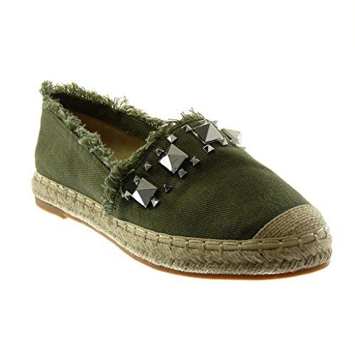 Angkorly Damen Schuhe Espadrilles Sandalen - Slip-On - Nieten - Besetzt - Ausgefranst - Seil Blockabsatz 2.5 cm Grüne