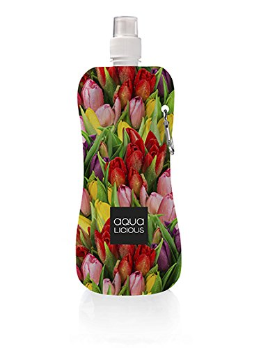 Aqua Licious Faltbare Trinkflasche mit Karabiner, wiederverwendbar, Trinkbeutel (Tulip) -