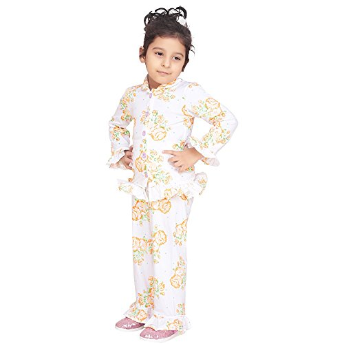 olele White Garden Floral Pattern Cotton Night Suit with Pajama for Girls (5-6 Years)| Night Suit | Night Suit for Kids | Night Suit for Girls | Night Suit with Pajama
