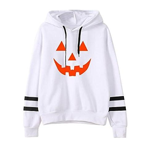 Pull Femmes Angelof Femmes Halloween Casual Manches Longues Sweat à Capuche Pull Sweat à Capuche Pull Tops Coton Blend Blouse (S, Blanc)