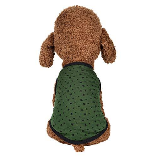 Kostüm Rock Star Haustier - Notdark Hundebekleidung Haustier Star Drucken Kostüm Klein Hund Weste für Chihuahua Welpen T-Shirt Kleid Rock (S,Grün)