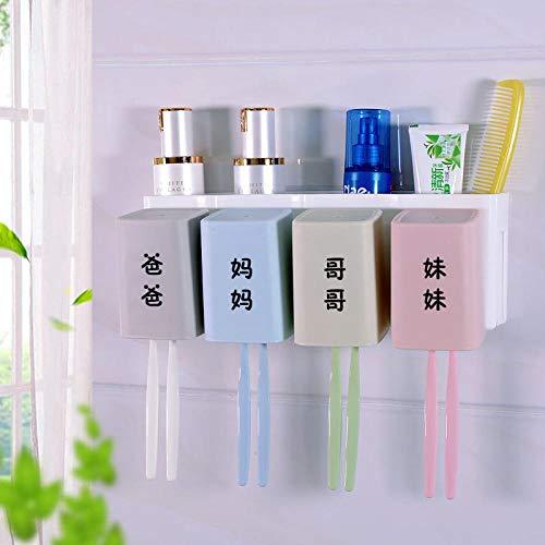 tuudy Zahnbürste Regal Free Punch Wall Suction Automatische Zahnpasta Cup Cup Set@Vater, Mutter, Bruder, Schwester