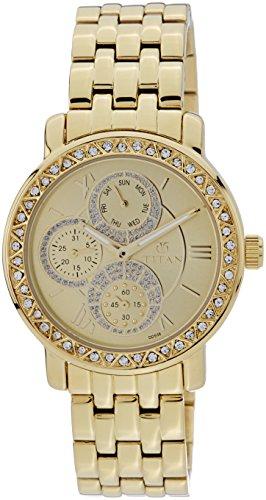Titan Women's Purple Glam Gold Analog Beige Dial Watch