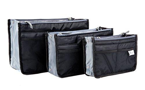 Periea - Organiseur de sac à main, 12 Compartiments - Chelsy (Noir, Moyen: H17.5 x L28 x P2-16cm)