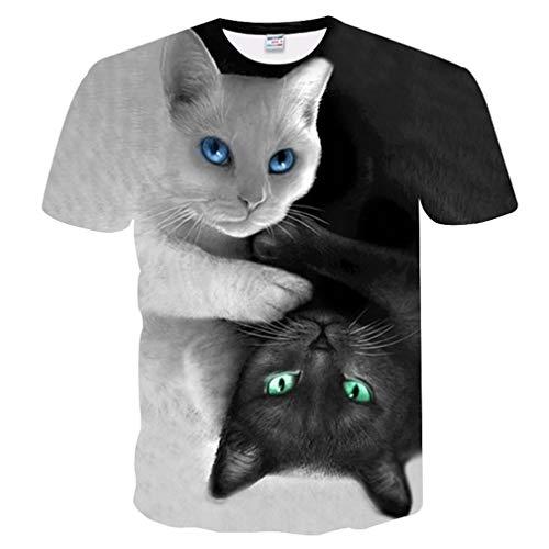 Camisetas Gatos Sorprendidos Unisex Cuddly 3 Pair Selfie Cool Cat Impresionante Camiseta Mujer Hombre Verano 3D Camiseta Camel M