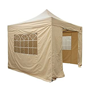 All Seasons Gazebos, Choice Of 5 Colours and 2 Sizes, Heavy Duty, Fully Waterproof , Premium Pop Up Gazebo With 4 x Zip Up Side Panels and carry bag (Beige, 3m x 3m)