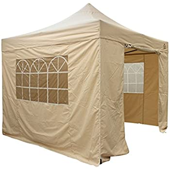 All Seasons Gazebos Choice Of 5 Colours And 2 Sizes Heavy Duty Fully Waterproof Premium Pop Up Gazebo With 4 X Zip Side Panels Carry Bag Beige
