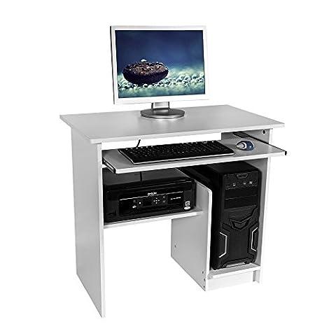 Harima - Jadukata Professioneller Weiß Computerwagen Computertisch Bürotisch PC Tisch Druckerablage Büromöbel Mit Ausziehbarer Tastaturablage Heim-PC