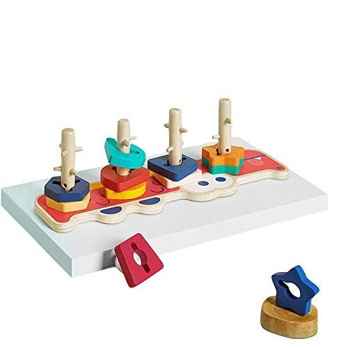 MLQ Qualitätsbaby-bunter Satz Spalten-Spielzeug-Blöcke, Geometrie zusammengepaßte frühe Bildungs-pädagogische Spielwaren, verwendbar für 1-3 Jahre alte Baby, 36 * 10 * 11.2cm -