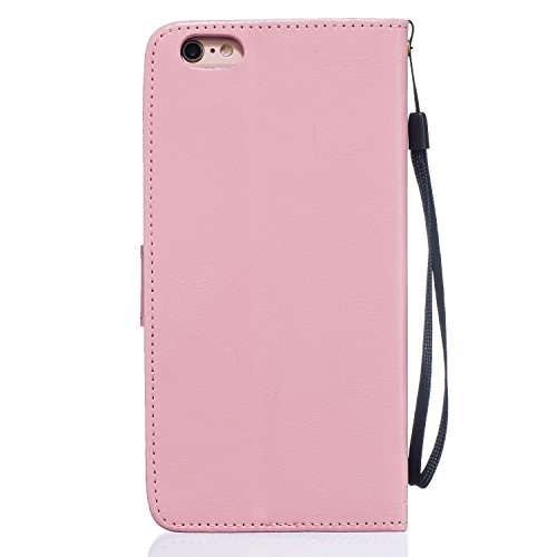 iPhone 6S Coque [avec gratuit 1x protection d'écran et 1x Stylet] Premium PU Cuir Portefeuille Coque pour iPhone 6, CE Flip Folio Couverture de livre de luxe 3d double cœurs Sablier Bling Sparkle Pa Dandelion Pink