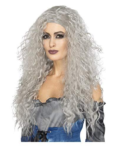 Todesfee Kostüm - Horror-Shop Graue Damenperücke mit Locken für