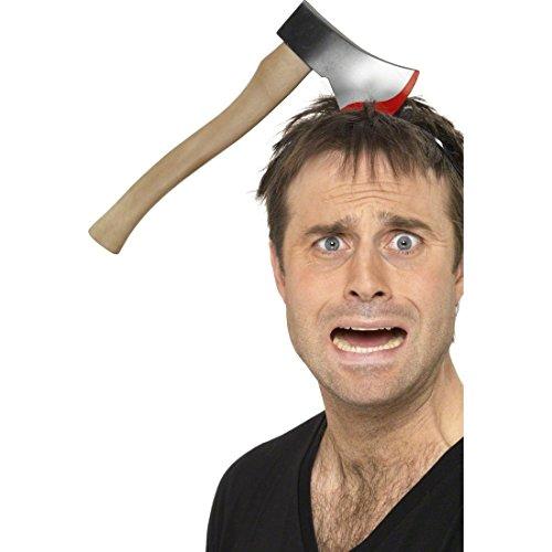 Beil im Kopf silber 33 cm Halloween Accessoire Scherzartikel Haarreifen Kopfschmuck (Beil Durch Kopf Kostüm)