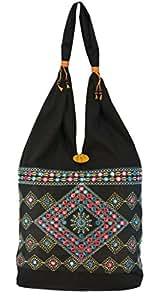 Shilpkart Ethnic Embroidery Jhola Bag(Black)