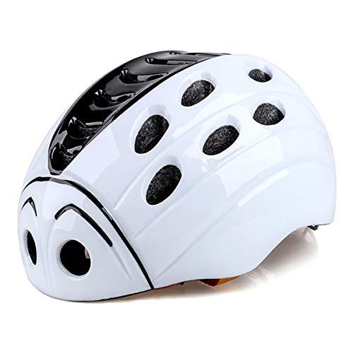 HuAma Kinderhelm mit Rücklichter Helm Cartoon Marienkäfer Fahrradhelm (Kopfumfang 17cm verstellbar) 2 Farben