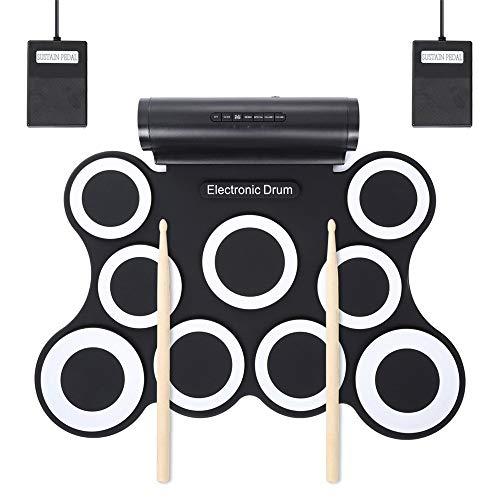 ChenYongPing Elektronisches Schlagzeug Elektronisches Roll-Up-Schlagzeug Stereo Festival Present Digital 9 Silicon Drum for Kids (Farbe : Weiß) -