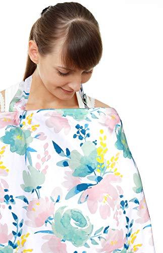 Copertina per allattamento, grembiule per l'allattamento al seno e ampia protezione per la privacy (fiori)