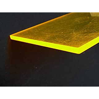 Acrylic C fluorescent yellow Perspex sheet, 500 x 500 x 3 mm Plate cut fluorescent