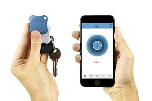 Preisvergleich Produktbild Lapa 2 Bluetooth Tracker - Finden Sie Schlüssel, Geldbörse, Tasche, Haustiere und sogar Ihr Smartphone (Blau + Schwarz + Weiss)