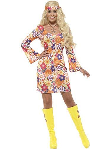 Luxuspiraten - Damen Frauen 60er Jahre Hippie Flower Power Woodstock Kostüm mit Kleid, Kopftuch und Medaillion, perfekt für Karneval, Fasching und Fastnacht, M, Mehrfarbig