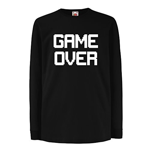 Kinder-T-Shirt mit langen Ärmeln Spiel über lustige Gamergeschenke (9-11 years Schwarz (Frau Kostüm Hobbit)