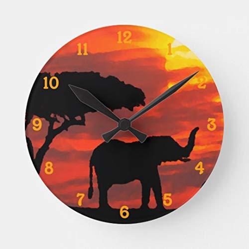 AmyyEden Kenya Safari Wanduhr, Elefant, Wildlife Sonnenuntergang, Aquarell, Holz, römische Ziffern, 30,5 cm -