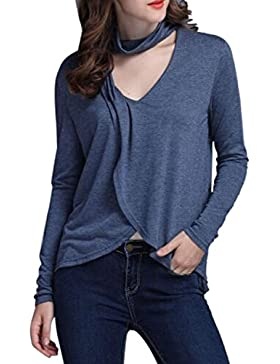 Donne In Abito Scollato Plissettata Irregolare Hem Cowl Collo Camicetta A Maniche Lunghe T - Shirt.