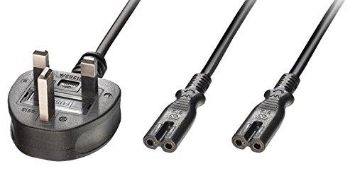 lindy-25-m-uk-3-pin-plug-to-2-x-iec-c7-y-iec-splitter-lead-cable-black
