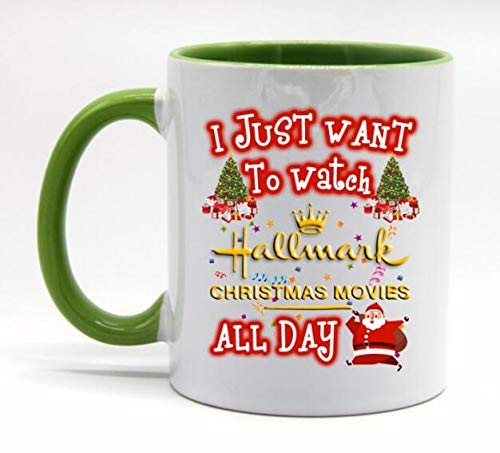 TK.DILIGARM Gift For Hallmark Lover I Just Want To Watch Hallmark Christmas Movies All Day Coffee Mugs Funny Coffee Tea Cup, White+Green