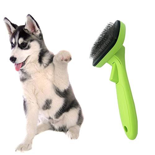 Steellwingsf spazzola per pettinatura automatica antiscivolo per animali, statica e priva di pettini verde + nero