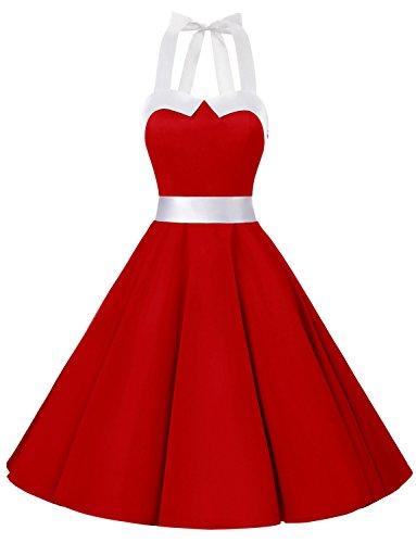 Dressystar Vintage Tupfen Retro Cocktail Abschlussball Kleider 50er 60er Rockabilly Neckholder Rot mit Weiß M