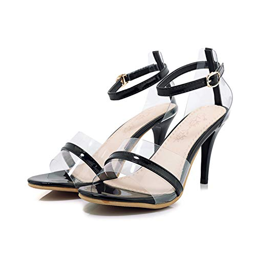 Sexy&live 2019 Women patent Sandals Woman 8.5cm Thin high Heels Summer Shoes White Black Ankle Strap Gladiator Sandalias Mujer Femme Black 4 -